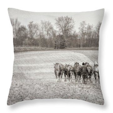 Team Of Six Horses Tilling The Fields Throw Pillow