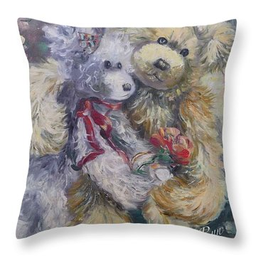 Teddy Bear Honeymooon Throw Pillow