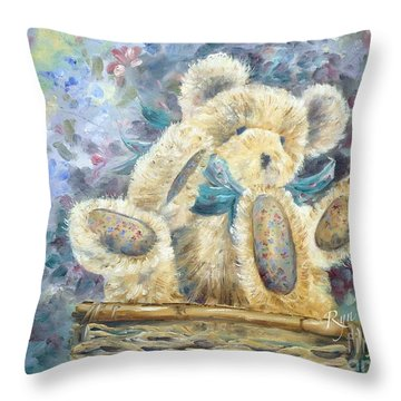 Teddy Bear In Basket Throw Pillow