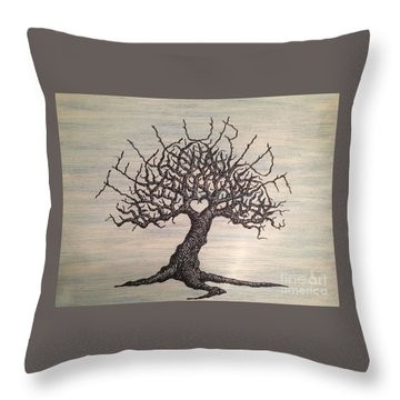 Throw Pillow featuring the drawing Telluride Love Tree by Aaron Bombalicki