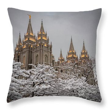 Temple In The Snow Throw Pillow
