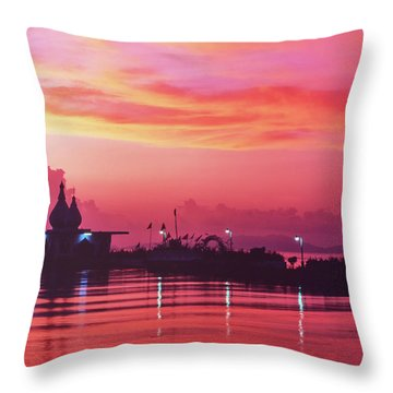 Temple On The Sea Throw Pillow