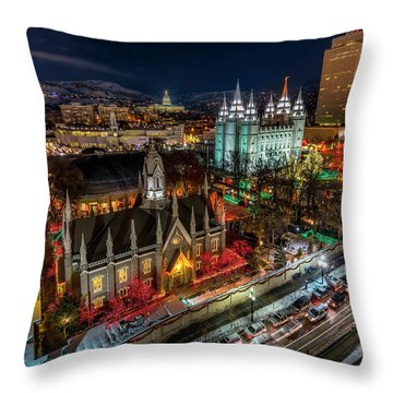 Temple Square Lights Throw Pillow