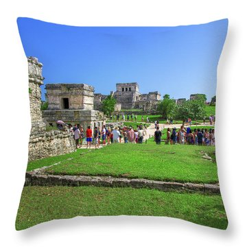 Temples Of Tulum Throw Pillow