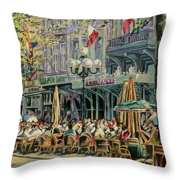 Terrace At The Vrijthof In Maastricht Throw Pillow