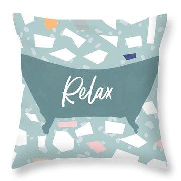 Terrazzo Bath Relax- Art By Linda Woods Throw Pillow