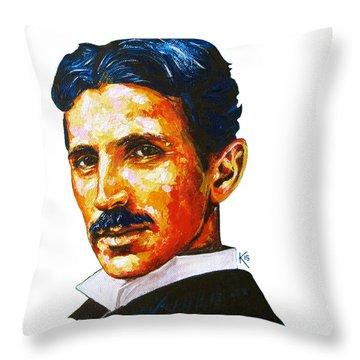 Tesla - Pure Genius Throw Pillow