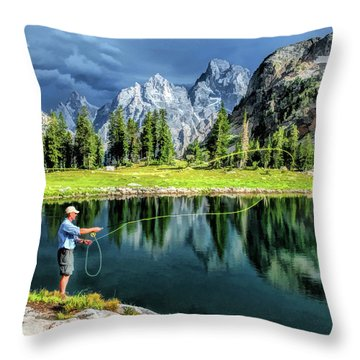 Grand Teton National Park Mountain Lake Fishing Throw Pillow
