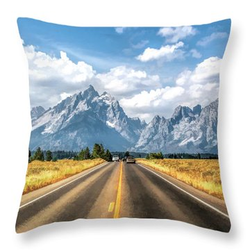 Grand Teton National Park Mountain Approach Throw Pillow