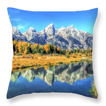Grand Teton National Park Mountain Reflections Throw Pillow
