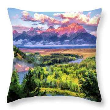 Grand Teton National Park Snake River Throw Pillow