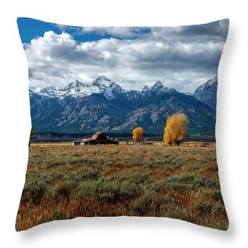 Throw Pillow featuring the photograph Tetons And Mormon Row by Scott Read