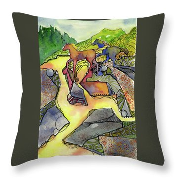 Tevis Ponies Throw Pillow