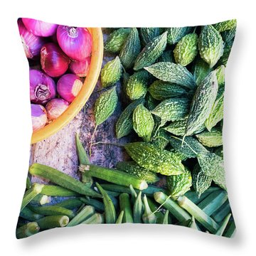 Thai Market Vegetables Throw Pillow
