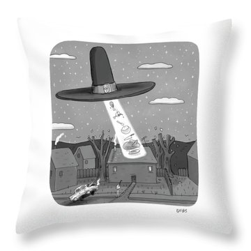 Thanksgiving Aliens Throw Pillow