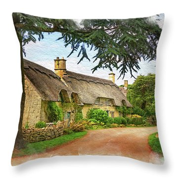 Thatched Roof Lane Throw Pillow