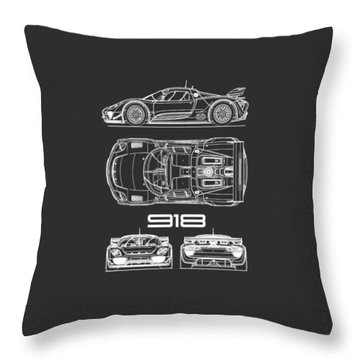 The 918 Spyder Blueprint - Black Throw Pillow