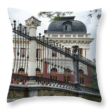 The Back Of The Ministry Of Agriculture Building In Madrid Throw Pillow