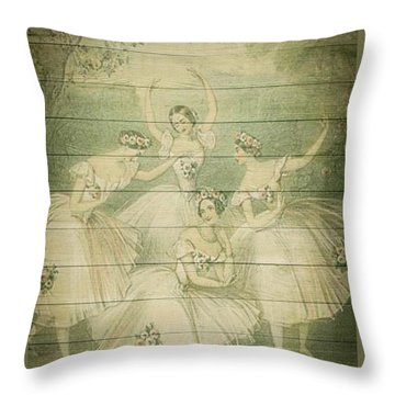 The Ballet Dancers Shabby Chic Vintage Style Portrait Throw Pillow