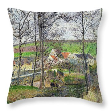 The Banks Of The Viosne At Osny In Grey Weather, Winter - Digital Remastered Edition Throw Pillow