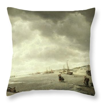 The Beach At Nieuport On The Flemish Coast Throw Pillow