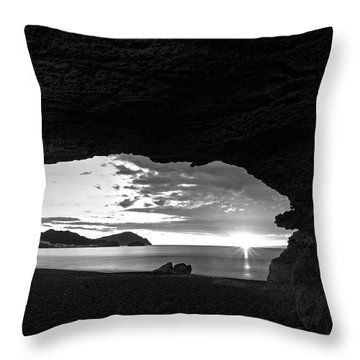 The Beach Of The Sculptures At Dawn In Almeria Throw Pillow