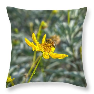The Bee The Flower Throw Pillow