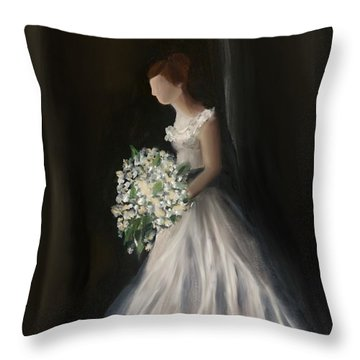 Throw Pillow featuring the painting The Big Day by Fe Jones