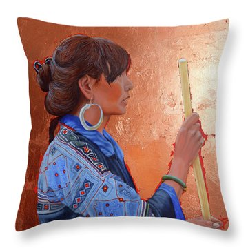 The Black Hmong Princess Throw Pillow