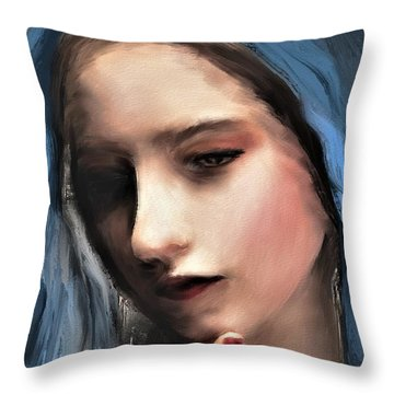 The Blue Scarf Throw Pillow