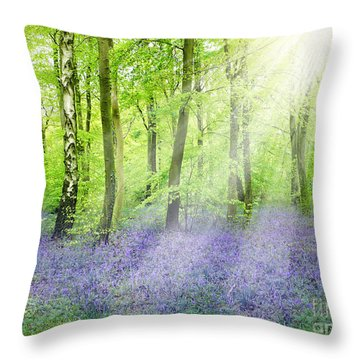 The Bluebell Woods Throw Pillow