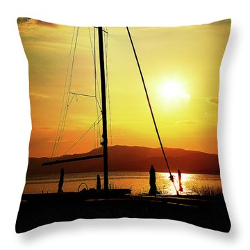 Throw Pillow featuring the photograph the Boat and the Sky by Milena Ilieva