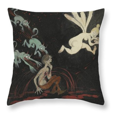 Throw Pillow featuring the drawing The Broken Heart by Ivar Arosenius