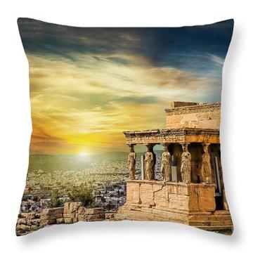 The Caryatids Of Acropolis In Athens, Greece Throw Pillow