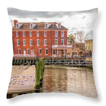 Throw Pillow featuring the photograph The Central Hotel - Delaware City by Kristia Adams