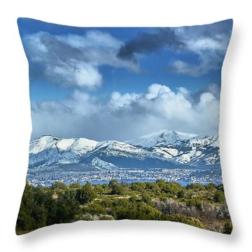 The City Of Bariloche And Landscape Of Snowy Mountains In The Argentine Patagonia Throw Pillow