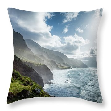 Throw Pillow featuring the photograph The Cliffs Of Kalalau by Tim Newton