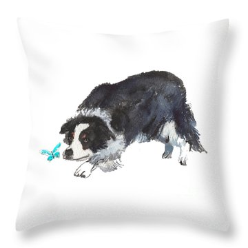 The Collie And Blue Butterfly Throw Pillow