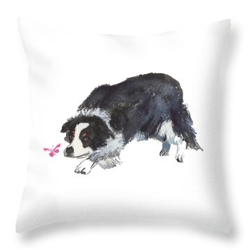The Collie And Pink Butterfly Throw Pillow