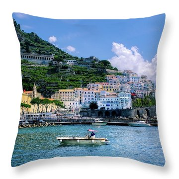The Colorful Amalfi Coast  Throw Pillow