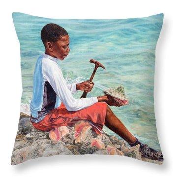 The Conch Boy Throw Pillow