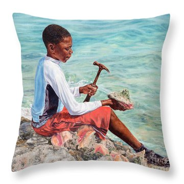 The Conch Boy Throw Pillow
