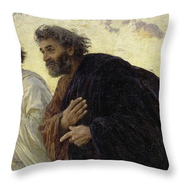The Disciples Peter And John Running To The Sepulchre On The Morning Of The Resurrection, 1898 Throw Pillow