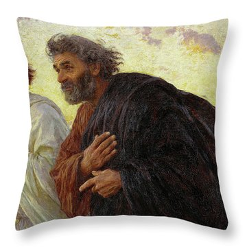 The Disciples Peter And John Running To The Tomb On The Morning Of The Resurrection, 1898 Throw Pillow