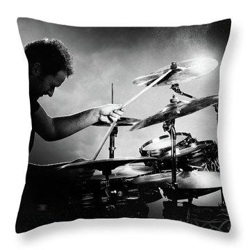 The Drummer Throw Pillow