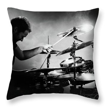 Rock And Roll Drummer Throw Pillows