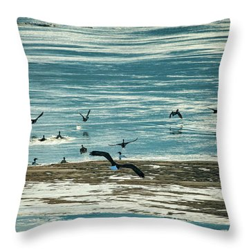 Throw Pillow featuring the photograph The Eagles Are Coming by Jeff Phillippi