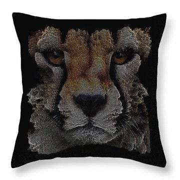 Throw Pillow featuring the digital art The Face Of A Cheetah by ISAW Company