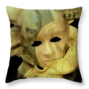 The Face Of Greed Throw Pillow