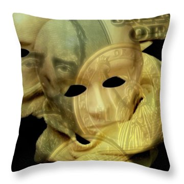 Throw Pillow featuring the digital art The Face Of Greed by ISAW Company